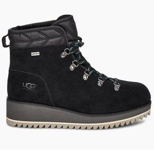 UGG Black Suede Lace Up Birch Winter Snow Boots 11